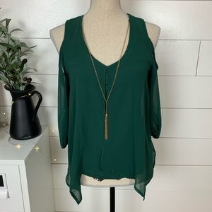 NWT Cold Shoulder Green Blouse + Necklace